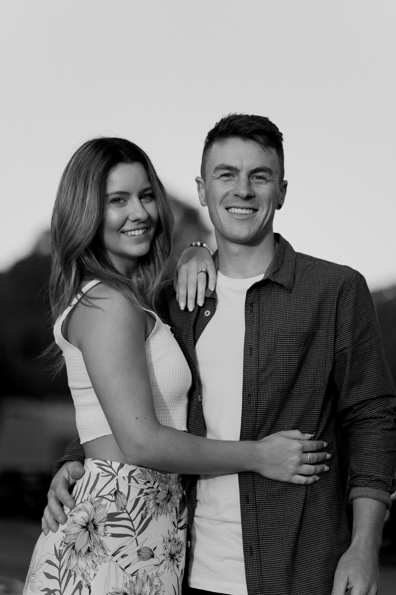 happy engaged melbourne couple